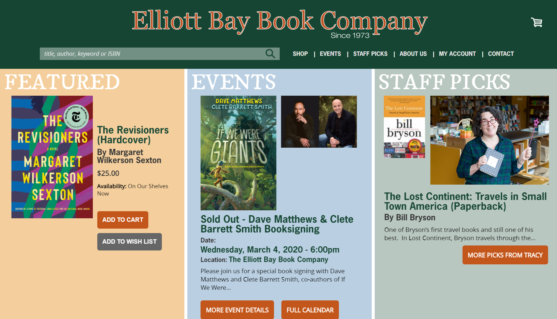 Elliot Bay Book Company IndieCommerce Home Page