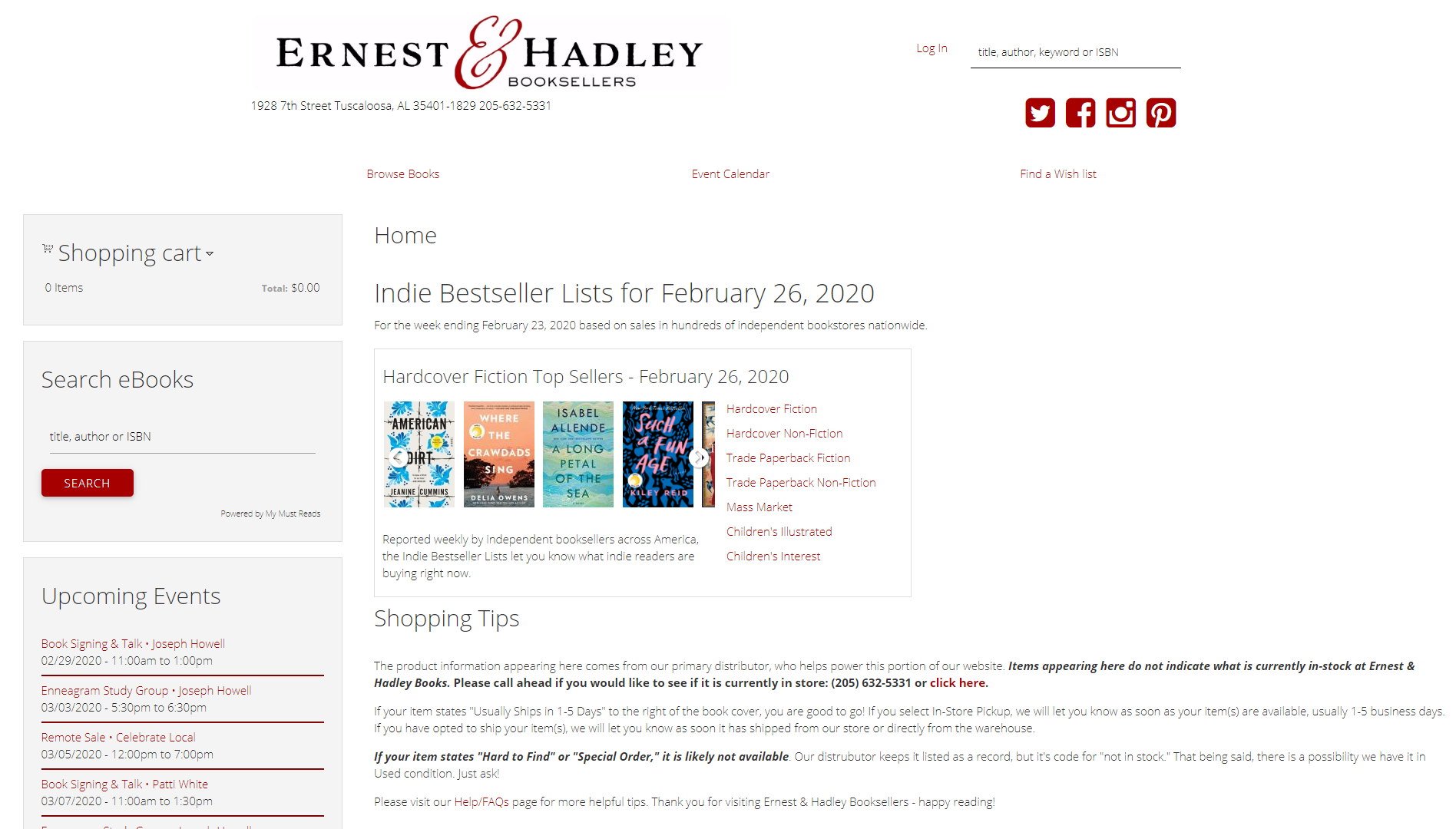 /ernest and Hadley Booksellers IndieLite Home Page