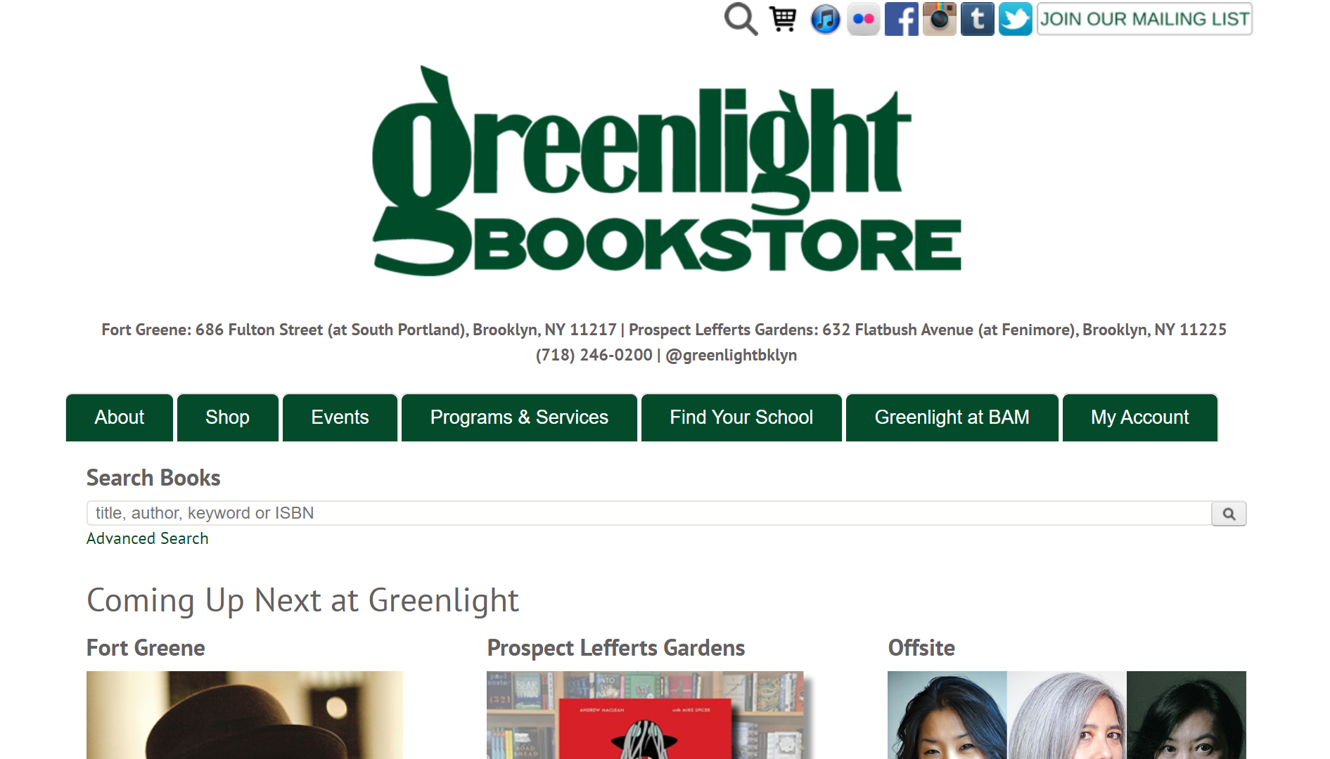 Greenlight Bookstore IndieCommerce Home Page
