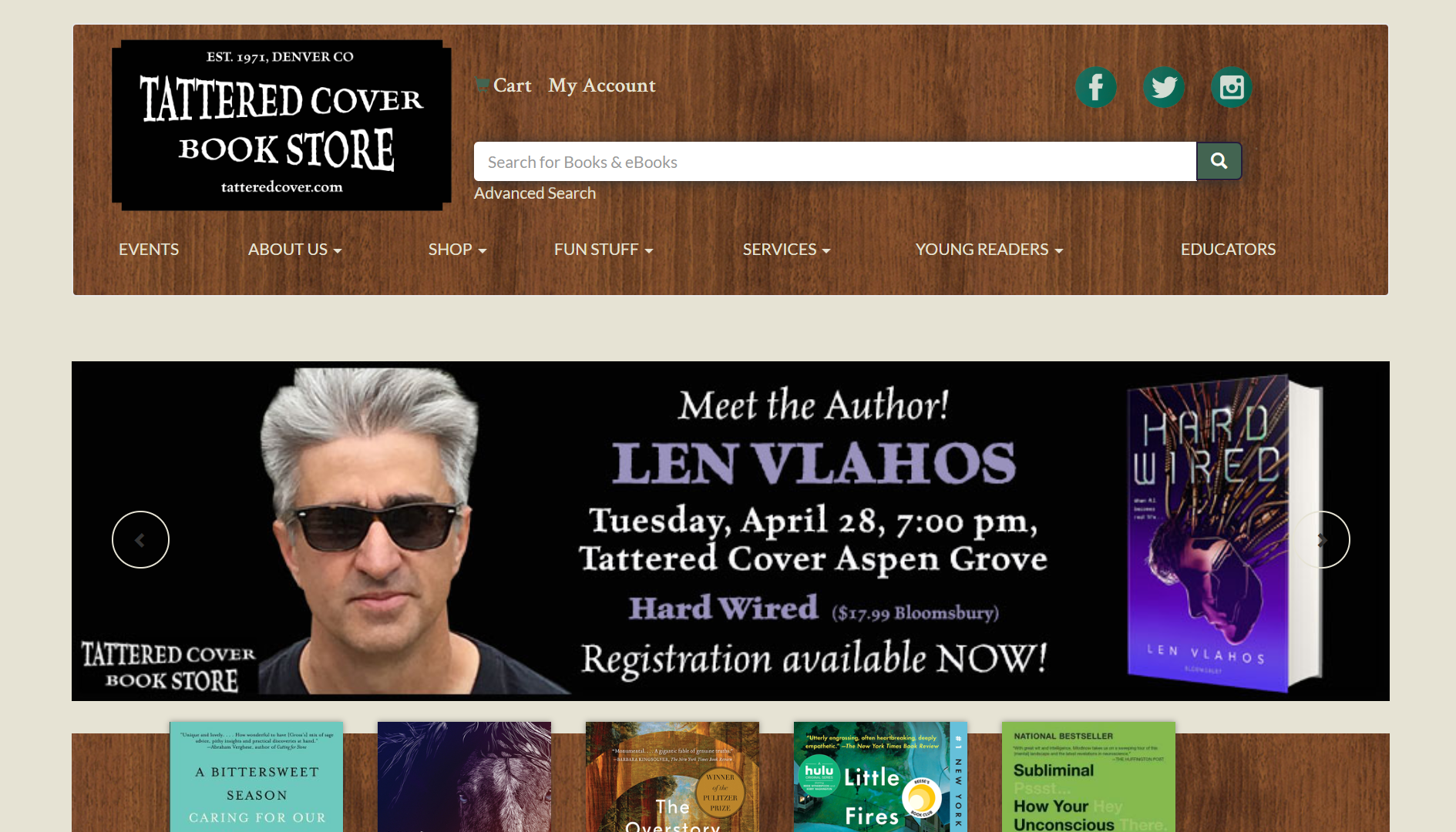 Tattered Cover Bookstore IndieCommerce Home Page