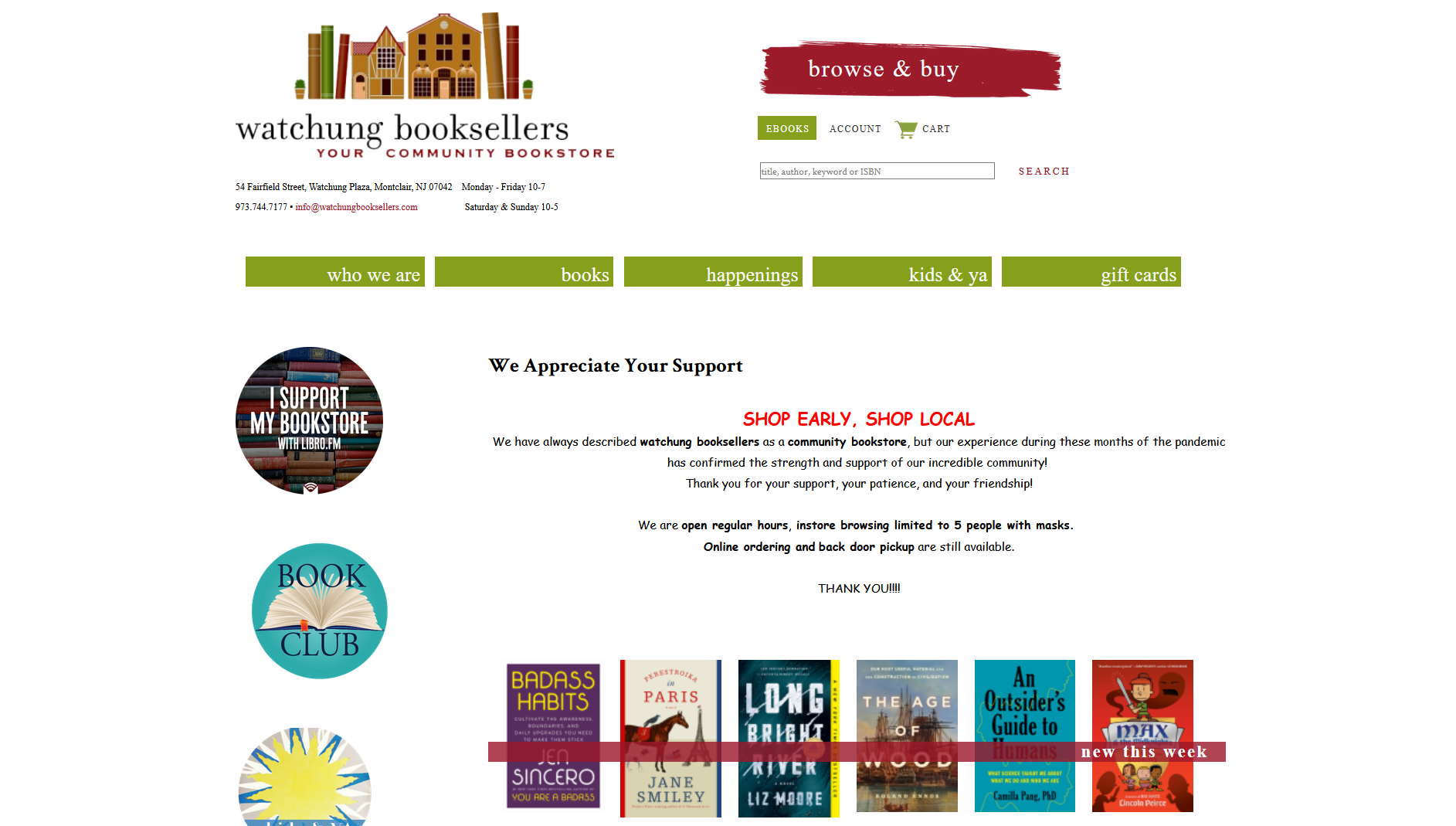 Watchung Booksellers IndieCommerce Home Page